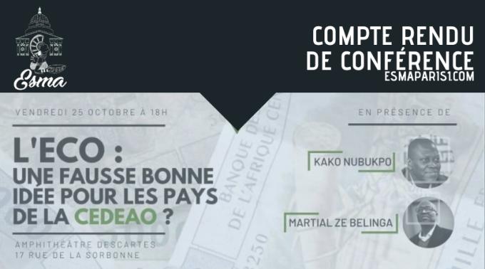 Compte Rendu de la conférence du 25 octobre 2019 – L'ECO, Une fausse bonne idée pour les pays de la CEDEAO ?