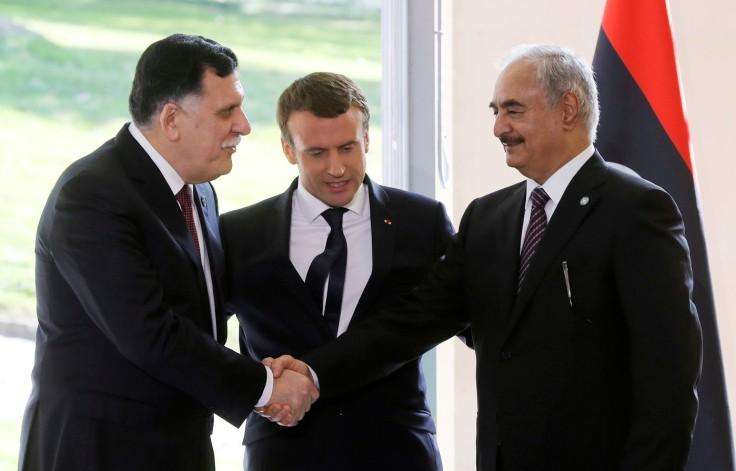 president-Emmanuel-Macron-Premier-ministre-libyen-Fayez-Sarraj-general-Khalifa-Haftar-25-juillet-2017-Celle-Saint-Cloud-Paris_1_1399_897